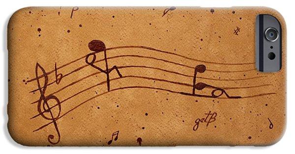Pleasure iPhone Cases - Kamasutra abstract Music 2 coffee painting iPhone Case by Georgeta  Blanaru