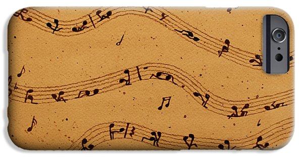 Pleasure Paintings iPhone Cases - Kamasutra Music coffee painting iPhone Case by Georgeta  Blanaru
