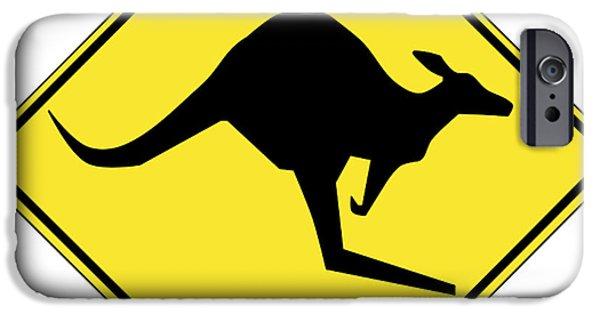 Kangaroo Digital Art iPhone Cases - Kangaroo Crossing Sign iPhone Case by Marvin Blaine