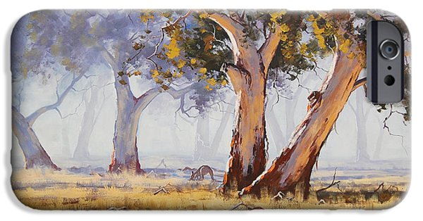 Impressionist iPhone Cases - Kangaroo Grazing iPhone Case by Graham Gercken