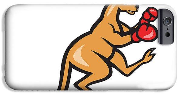 Boxer Digital Art iPhone Cases - Kangaroo Kick Boxer Boxing Cartoon iPhone Case by Aloysius Patrimonio