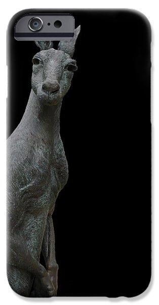 Kangaroo Digital Art iPhone Cases - Kangaroo Smith on Black iPhone Case by Gregory Smith