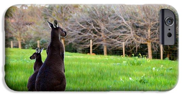Kangaroo Digital Art iPhone Cases - Kangaroos iPhone Case by Phill Petrovic