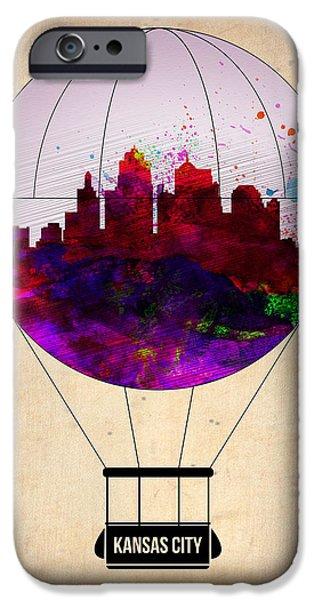 Town iPhone Cases - Kansas City Air Balloon iPhone Case by Naxart Studio