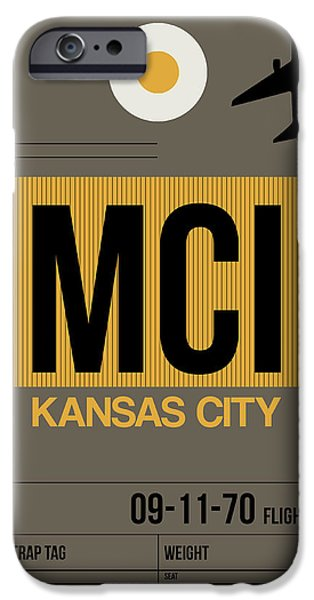 Town iPhone Cases - Kansas City Airport Poster 1 iPhone Case by Naxart Studio