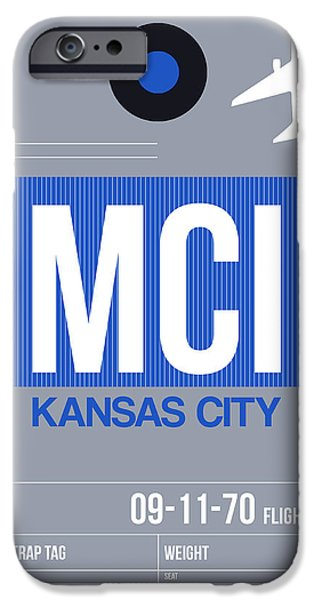 Town iPhone Cases - Kansas City Airport Poster 2 iPhone Case by Naxart Studio