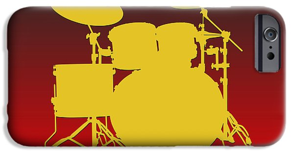 Drum Sets iPhone Cases - Kansas City Chiefs Drum Set iPhone Case by Joe Hamilton