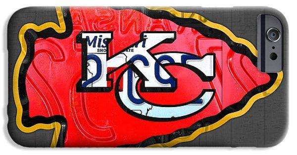 Football Mixed Media iPhone Cases - Kansas City Chiefs Football Team Retro Logo Missouri License Plate Art iPhone Case by Design Turnpike