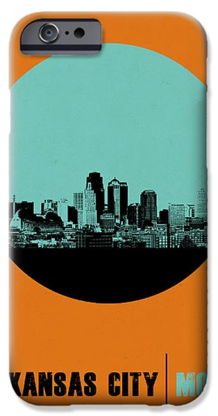 Romantic Digital iPhone Cases - Kansas City Circle Poster 1 iPhone Case by Naxart Studio