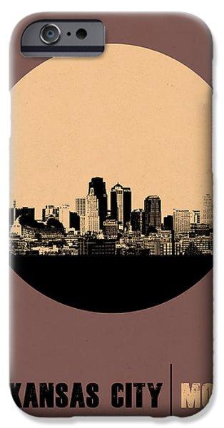 Kansas iPhone Cases - Kansas City Circle Poster 2 iPhone Case by Naxart Studio