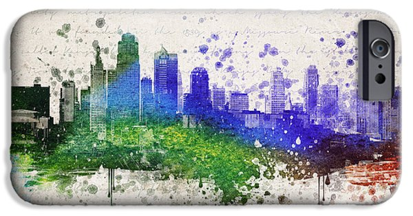Downtown Mixed Media iPhone Cases - Kansas City in Color iPhone Case by Aged Pixel