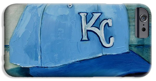 Baseball Art Paintings iPhone Cases - Kansas City Royals iPhone Case by Lindsay Frost