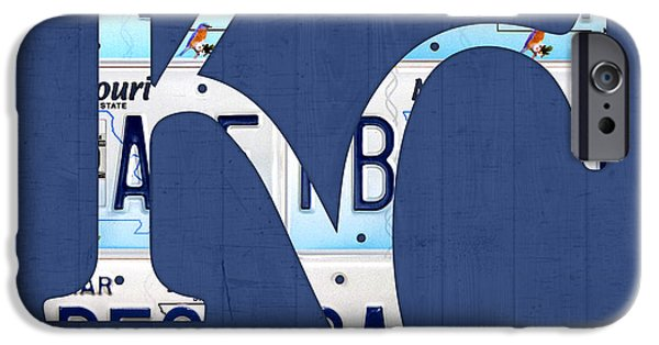 Mlb Mixed Media iPhone Cases - Kansas City Royals Recycled License Plate Art Baseball Logo iPhone Case by Design Turnpike