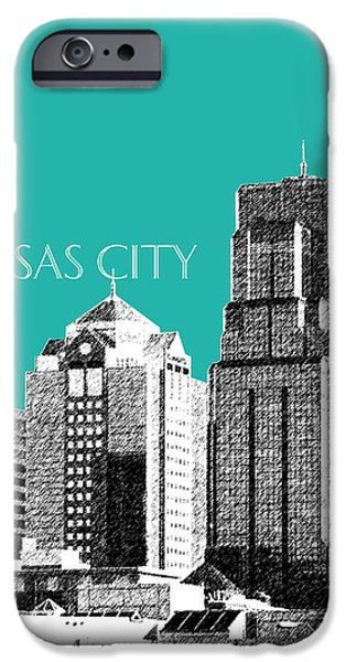 Pen And Ink iPhone Cases - Kansas City Skyline 1 - Teal iPhone Case by DB Artist