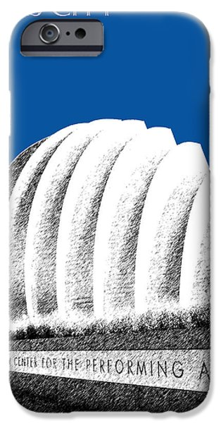 Pen And Ink iPhone Cases - Kansas City Skyline 3 Kauffman Center - Royal Blue iPhone Case by DB Artist