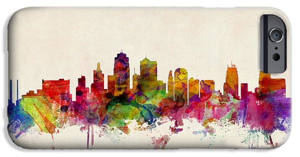 States iPhone Cases - Kansas City Skyline iPhone Case by Michael Tompsett