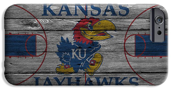 Santa iPhone Cases - Kansas Jayhawks iPhone Case by Joe Hamilton