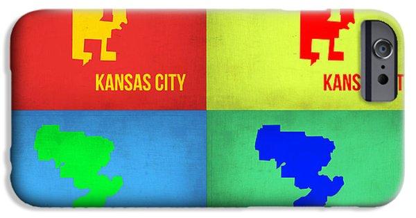 Kansas iPhone Cases - Kansas Pop Art Map 1 iPhone Case by Naxart Studio