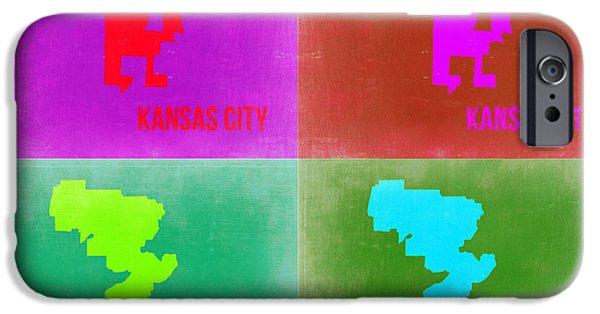 Kansas iPhone Cases - Kansas Pop Art Map 2 iPhone Case by Naxart Studio