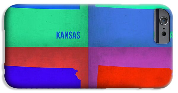 Kansas iPhone Cases - Kansas Pop Art Map 3 iPhone Case by Naxart Studio