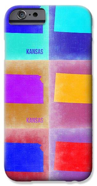 Kansas iPhone Cases - Kansas Pop Art Map 4 iPhone Case by Naxart Studio