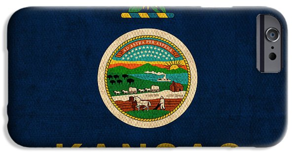 Kansas iPhone Cases - Kansas State Flag Art on Worn Canvas iPhone Case by Design Turnpike