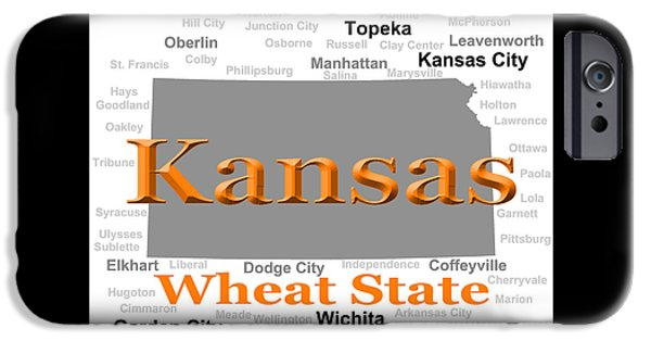 Arkansas iPhone Cases - Kansas State Pride Map Silhouette  iPhone Case by Keith Webber Jr