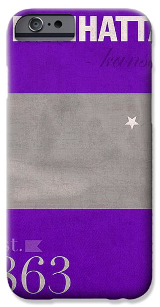 Manhattan Mixed Media iPhone Cases - Kansas State University Wildcats Manhattan Kansas College Town State Map Poster Series No 052 iPhone Case by Design Turnpike