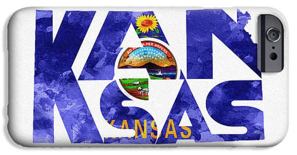 Rust Pyrography iPhone Cases - Kansas Typographic Map Flag iPhone Case by Ayse Deniz