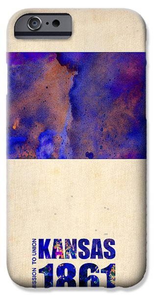 Decoration iPhone Cases - Kansas Watercolor Map iPhone Case by Naxart Studio