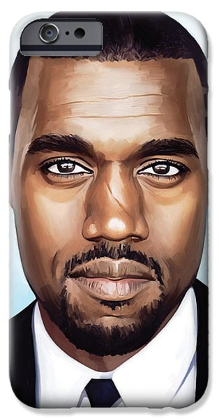 Hip-hop iPhone Cases - Kanye West Artwork iPhone Case by Sheraz A