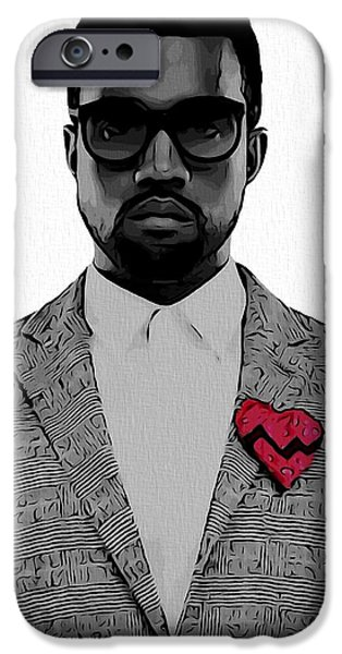 Kim Digital Art iPhone Cases - Kanye West  iPhone Case by Dan Sproul