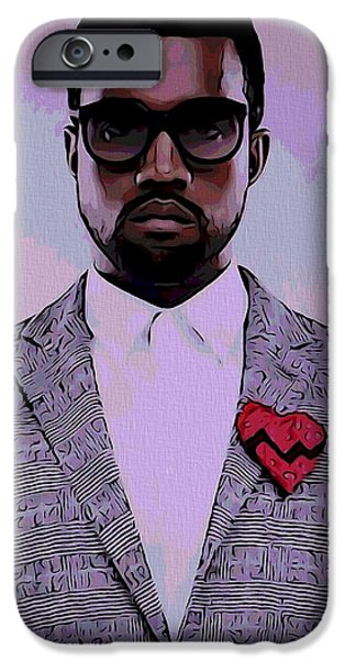 Jay Z iPhone Cases - Kanye West Poster iPhone Case by Dan Sproul