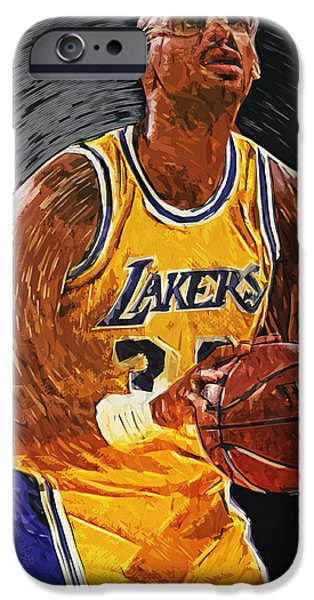 Magic Johnson iPhone Cases - Kareem Abdul-Jabbar iPhone Case by Taylan Soyturk