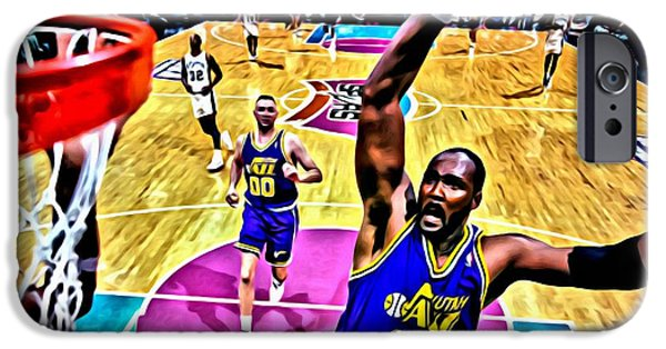 Utah Jazz iPhone Cases - Karl Malone iPhone Case by Florian Rodarte
