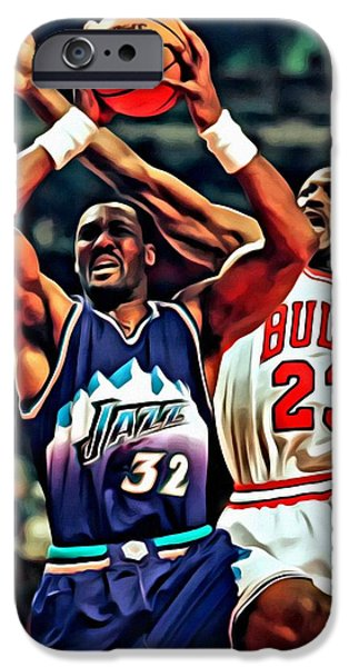Utah Jazz iPhone Cases - Karl Malone vs. Michael Jordan iPhone Case by Florian Rodarte