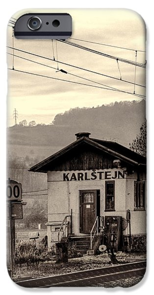 Shed iPhone Cases - Karlstejn Railroad Shack iPhone Case by Joan Carroll