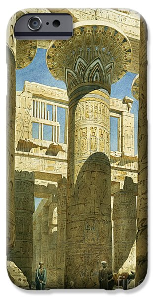 Temple Paintings iPhone Cases - Karnak iPhone Case by Richard Phene Spiers