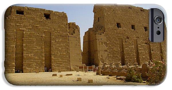 Karnak iPhone Cases - Karnak Temple 04 iPhone Case by Antony McAulay