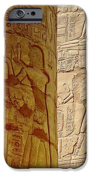 Karnak iPhone Cases - Karnak Temple Detail iPhone Case by Antony McAulay