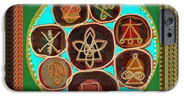 Diy iPhone Cases - KARUNA Reiki Healing Symbols Textures Patterns Background Designs  and Color Tones n Color Shades av iPhone Case by Navin Joshi
