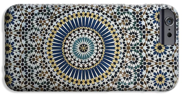 Illustrations Ceramics iPhone Cases - Kasbah of Thamiel glaoui zellij tilework detail  iPhone Case by Moroccan School