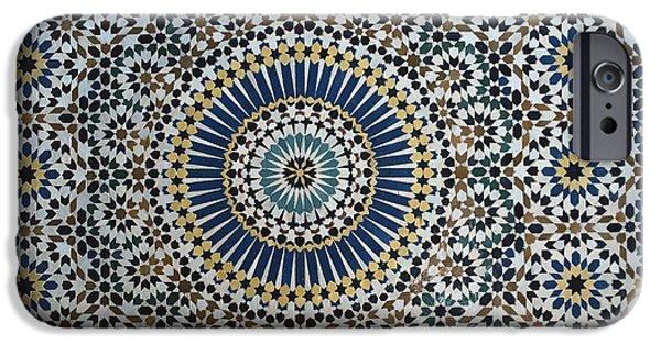 Ceramics iPhone Cases - Kasbah of Thamiel glaoui zellij tilework detail  iPhone Case by Moroccan School