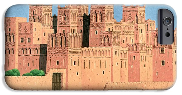 Moroccan iPhone Cases - Kasbah, Southern Morocco, 1998 Acrylic On Linen iPhone Case by Larry Smart
