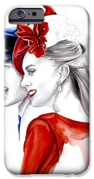 Kate And Prince William iPhone Cases - Kate and William iPhone Case by Elina Sheripova