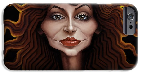 Caricature Digital Art iPhone Cases - Kate Bush iPhone Case by Andre Koekemoer