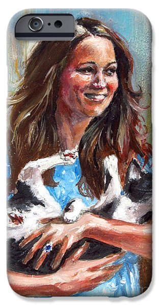 Kate Middleton iPhone Cases - Kate Middleton Duchess of Cambridge and her royal baby cat iPhone Case by Daniel Cristian Chiriac