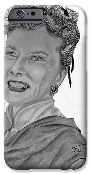 1950s Movies iPhone Cases - Kate iPhone Case by Tobi Czumak