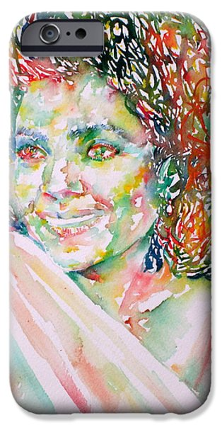 Kathleen iPhone Cases - KATHLEEN BATTLE - watercolor portrait iPhone Case by Fabrizio Cassetta