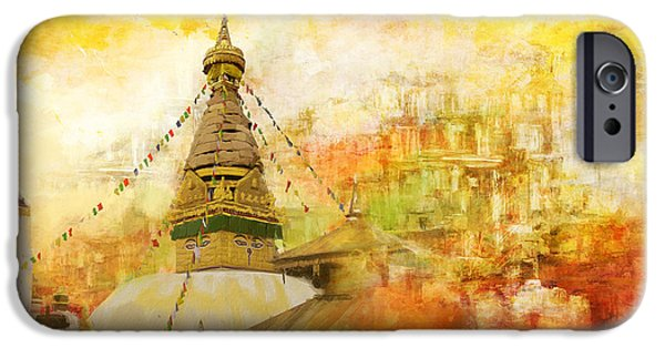 Historic Site Paintings iPhone Cases - Kathmandu Valley iPhone Case by Catf